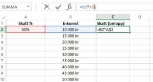 Dollartecken Excel
